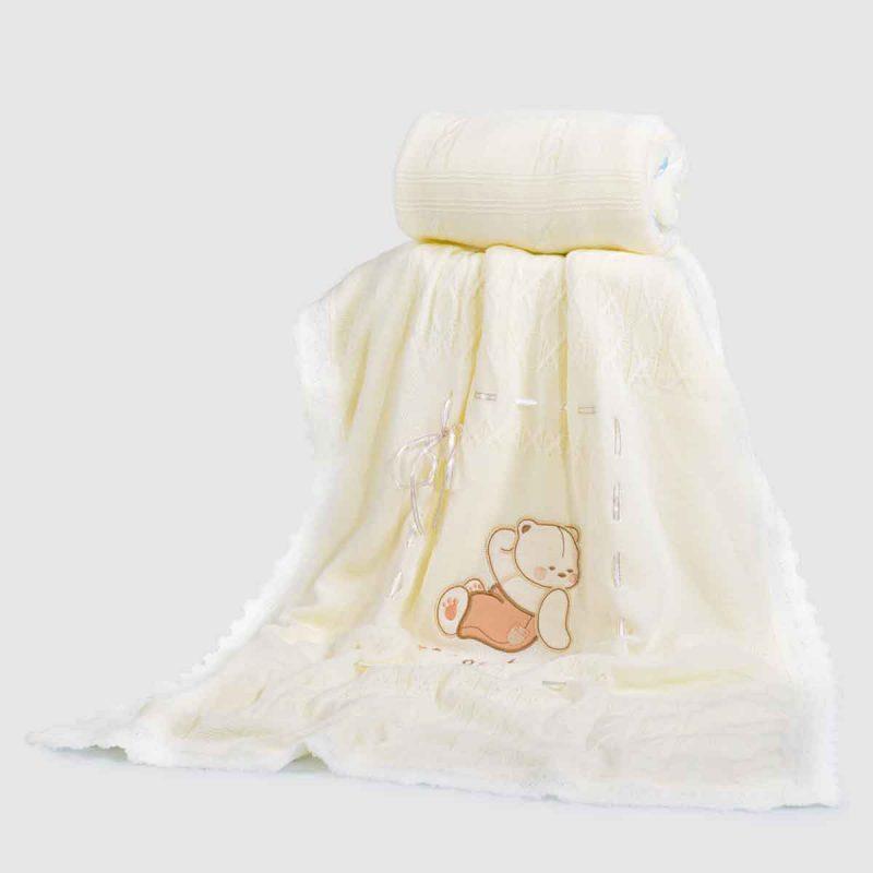ΒΡΕΦΙΚΟ ΚΟΥΒΕΡΤΑΚΙ – CANGAROO BABY BLANKET 201 WHITE-BEAR