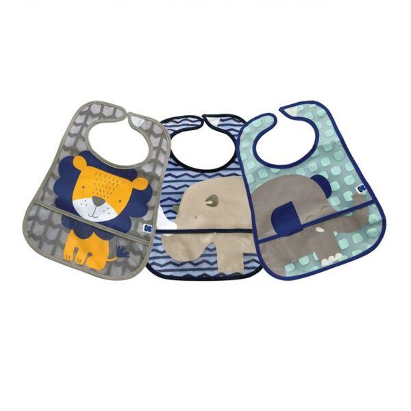 Σετ Βρεφικές Σαλιάρες με τσέπη 3τμχ. - Kikka Boo Lion Rhino Elephant