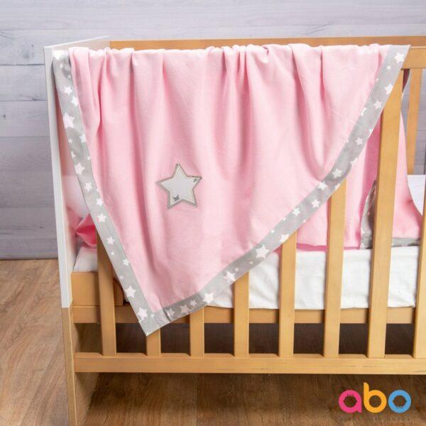 Φανελένια κουβέρτα 110x120 - ABO Ρόζ