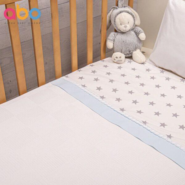 Πικέ κουβέρτα 100x150 - ABO Elephant Σιέλ