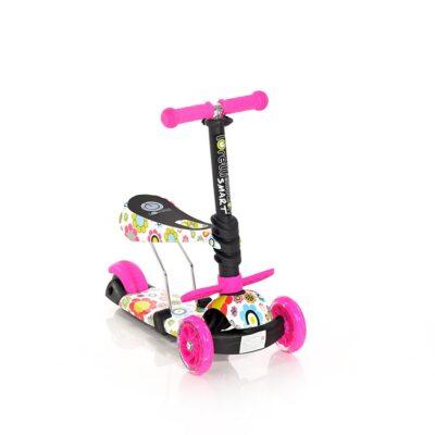 Τρίτροχο Πατίνι με κάθισμα - Lorelli Scooter SMART Pink FLOWERS 2021