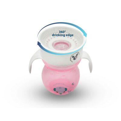 Εκπαιδευτικό Κύπελλο 360˚ Με Χερούλια - Cangaroo Magic cup 270 ml pink
