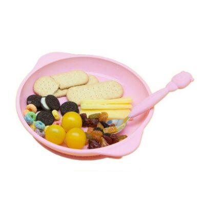 Πιάτο σιλικόνης με αντιολισθητική βάση βεντούζα - Marcus & Marcus Pokie Ρόζ Pig