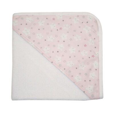 Παιδικό μπουρνούζι τριγωνάκι - WhiteBox Pink Clouds & Stars 26