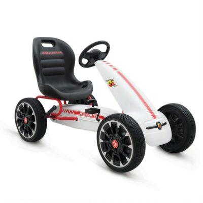 Παιδικό Go Kart Αυτοκινητάκι με πετάλια Eva Soft Wheels - Moni Abarth 500 Assetto White