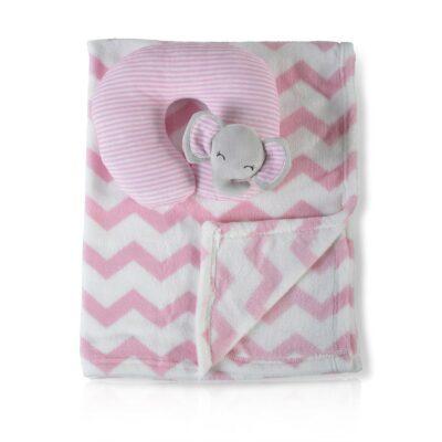 Κουβέρτα Αγκαλιάς 90x75εκ με μαξιλαράκι - Cangaroo Sammy pink