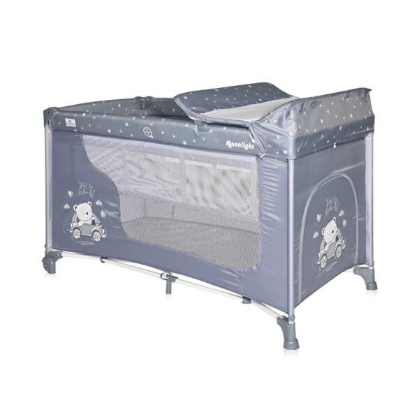 Παρκοκρέβατο 2 Επιπέδων - Lorelli Moonlight Silver Blue CAR
