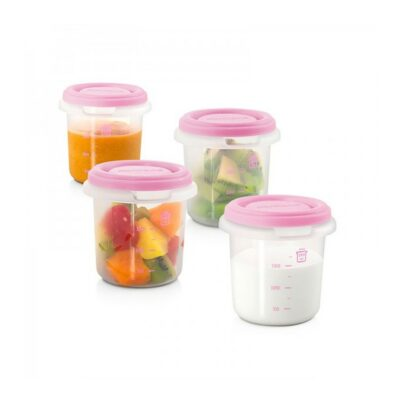Σετ αποθήκευσης τροφίμων 4 τεμαχίων 250ml - MiniLand Hermisized Pink