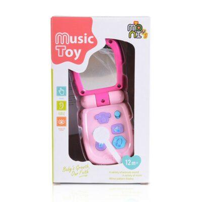 Μουσικό Παιδικό Τηλέφωνο - MONI Toys Baby phone with cover Pink K999-95B