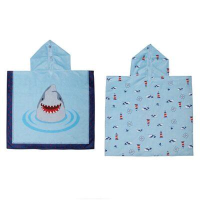 Πόντσο Διπλής Όψης UPF50+ - FlapJackKids Shark/Nautical