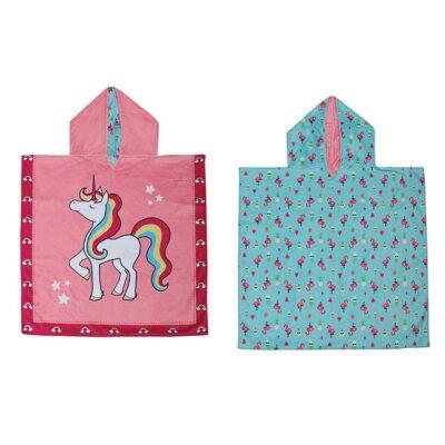 Πόντσο Διπλής Όψης UPF50+ - FlapJackKids Unicorn Tropical