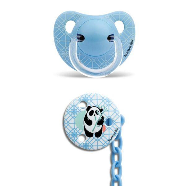 Ανατομική Πιπίλα Σιλικόνης για μωρά +6-18M και Κλιπ - Suavinex Panda Blue