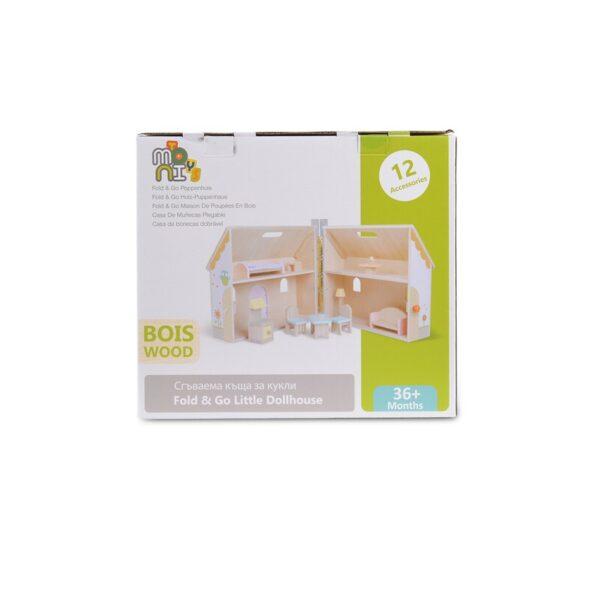 Πτυσσόμενο Ξύλινο Κουκλόσπιτο - MONI Wooden foldable doll house 4139