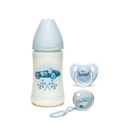 Suavinex Σετ Δώρου Μπιμπερό 270ml, Πιπίλα & Κλιπ Πιπίλας – Blue Toys
