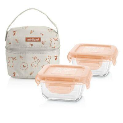 Σετ Γυάλινα Πυρίμαχα Δοχεία Φαγητού 2 x 160ml – MiniLand pack-2-go naturSquare bunny