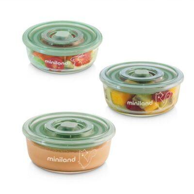 Σετ Γυάλινα Πυρίμαχα Δοχεία Φαγητού 3 x 200ml – MiniLand pack-2-go naturRound chip