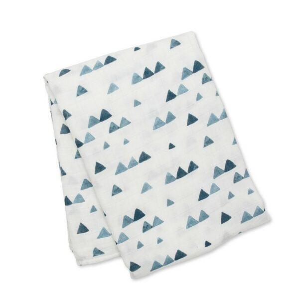 Μουσελίνα Bamboo 120x120εκ. - Lulujo Navy Triangles