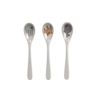 Κουτάλια Φαγητού Σετ 3τμχ. - Done By Deer Sea Friends Grey/Mustard