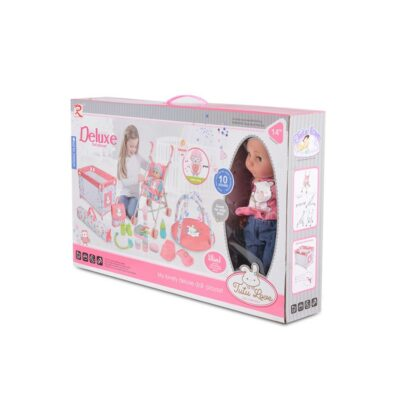 beberose.gr Σετ Κούκλας 36 εκ. με Κούνια και Καροτσάκι - MONI Toys Deluxe set 89888